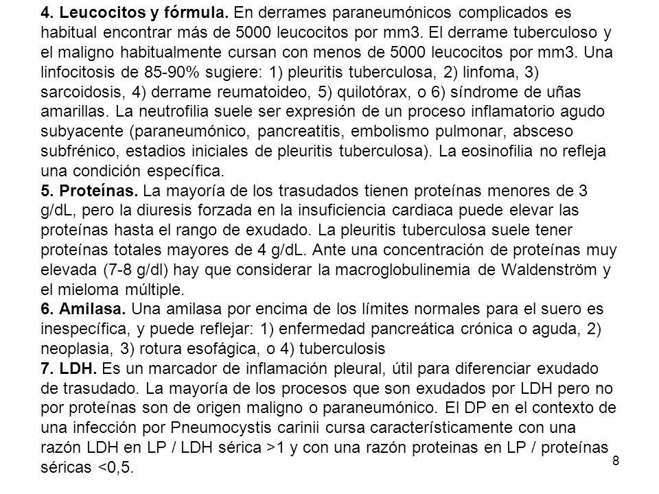 19 El pseudoquilotórax es el acúmulo de concentraciones elevadas de colesterol y/o complejos de lecitín-globulina.