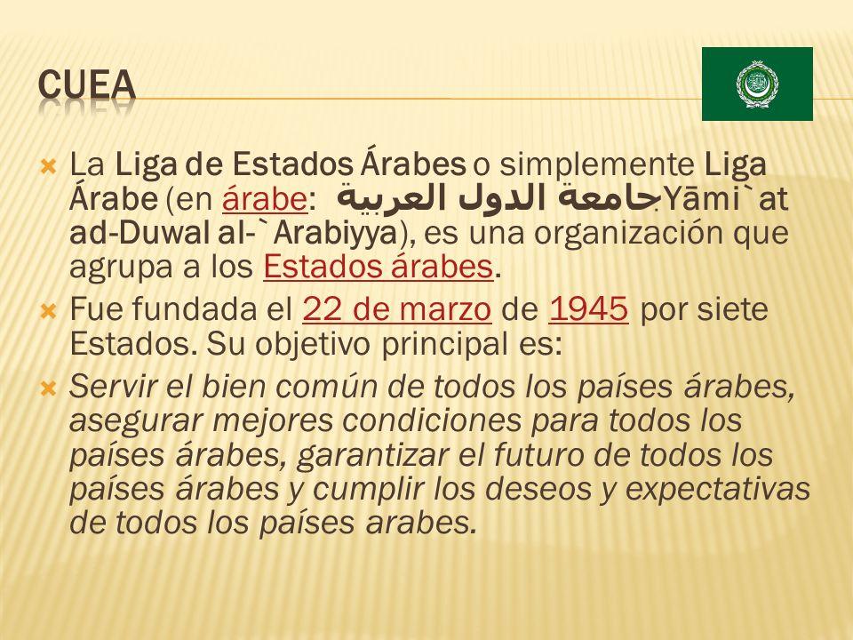 La Liga de Estados Árabes o simplemente Liga Árabe (en árabe: جامعة الدول العربية Yāmi`at ad-Duwal al-`Arabiyya), es una organización que agrupa a los