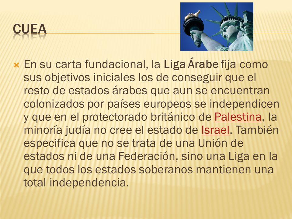 En su carta fundacional, la Liga Árabe fija como sus objetivos iniciales los de conseguir que el resto de estados árabes que aun se encuentran coloniz