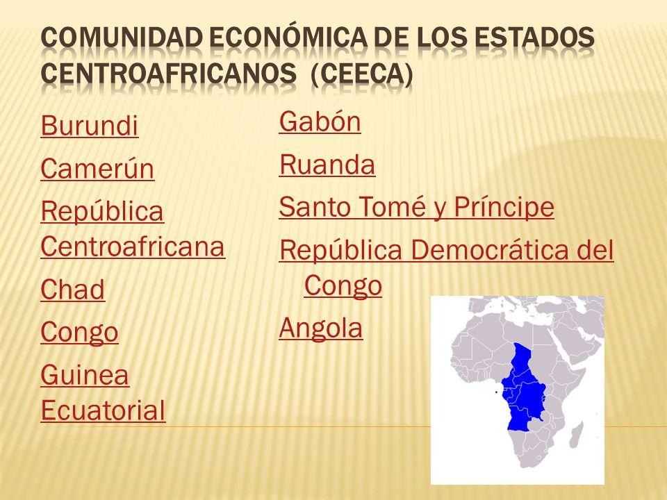 Burundi Camerún República Centroafricana Chad Congo Guinea Ecuatorial Gabón Ruanda Santo Tomé y Príncipe República Democrática del Congo Angola