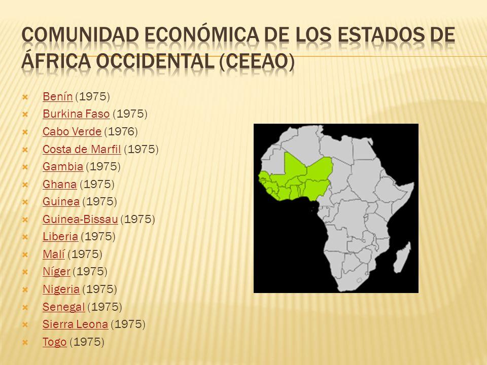Benín (1975)Benín Burkina Faso (1975)Burkina Faso Cabo Verde (1976)Cabo Verde Costa de Marfil (1975)Costa de Marfil Gambia (1975)Gambia Ghana (1975)Gh