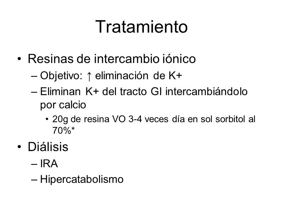 Tratamiento Resinas de intercambio iónico –Objetivo: eliminación de K+ –Eliminan K+ del tracto GI intercambiándolo por calcio 20g de resina VO 3-4 vec