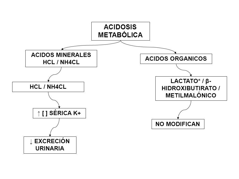 ACIDOSIS METABÓLICA ACIDOS MINERALES HCL / NH4CL ACIDOS ORGANICOS HCL / NH4CL LACTATO* / β- HIDROXIBUTIRATO / METILMALÓNICO [ ] SÉRICA K+ EXCRECIÓN UR