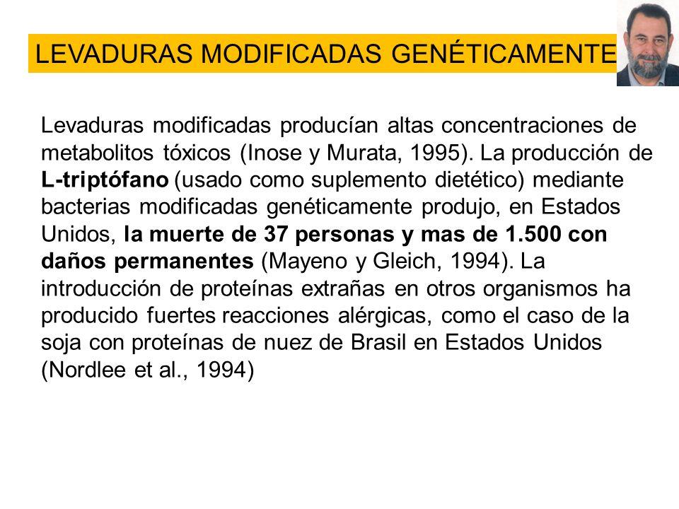 Levaduras modificadas producían altas concentraciones de metabolitos tóxicos (Inose y Murata, 1995). La producción de L-triptófano (usado como supleme