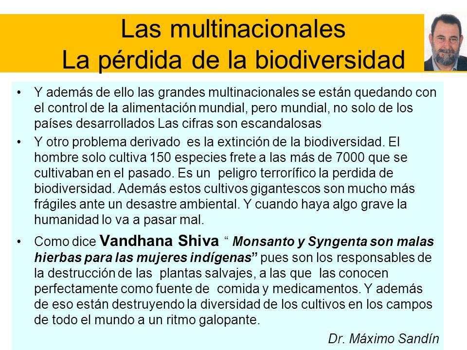 Las multinacionales La pérdida de la biodiversidad Y además de ello las grandes multinacionales se están quedando con el control de la alimentación mu