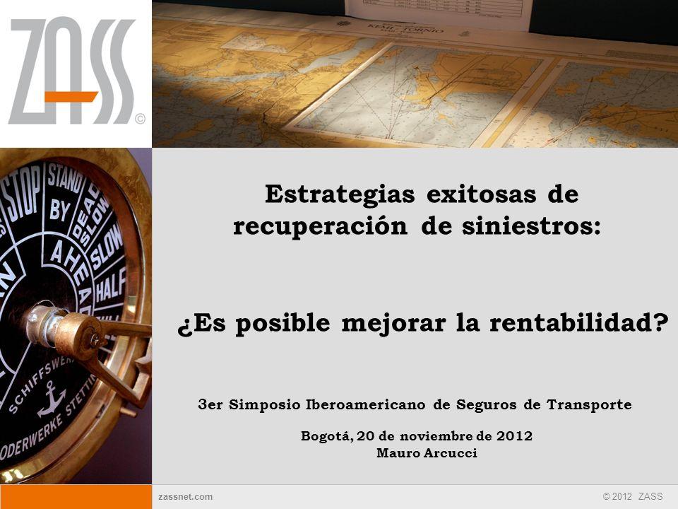 zassnet.com © 2012 ZASS Estrategias exitosas de recuperación de siniestros: 3er Simposio Iberoamericano de Seguros de Transporte ¿Es posible mejorar l