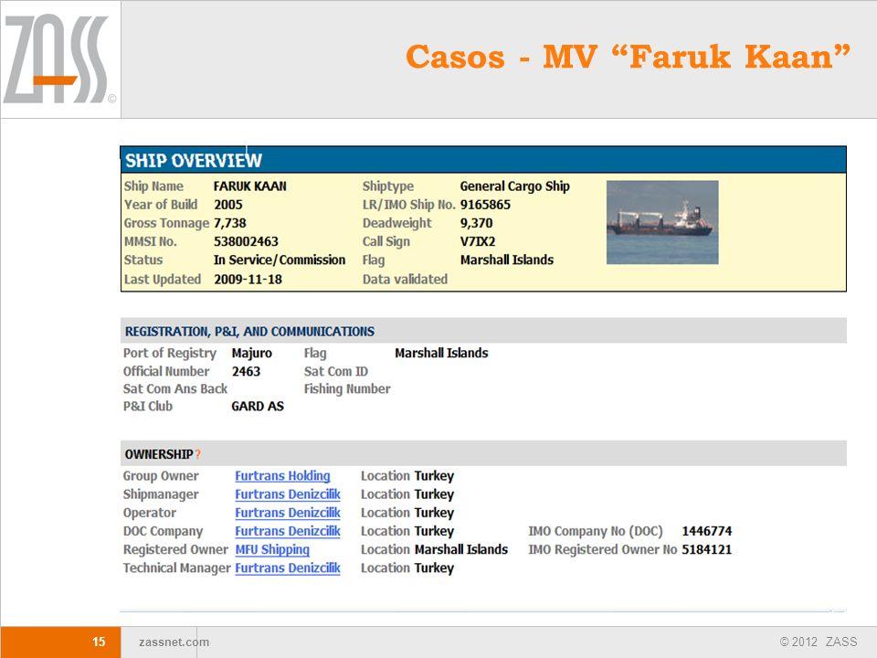 © 2012 ZASS zassnet.com 15 Casos - MV Faruk Kaan