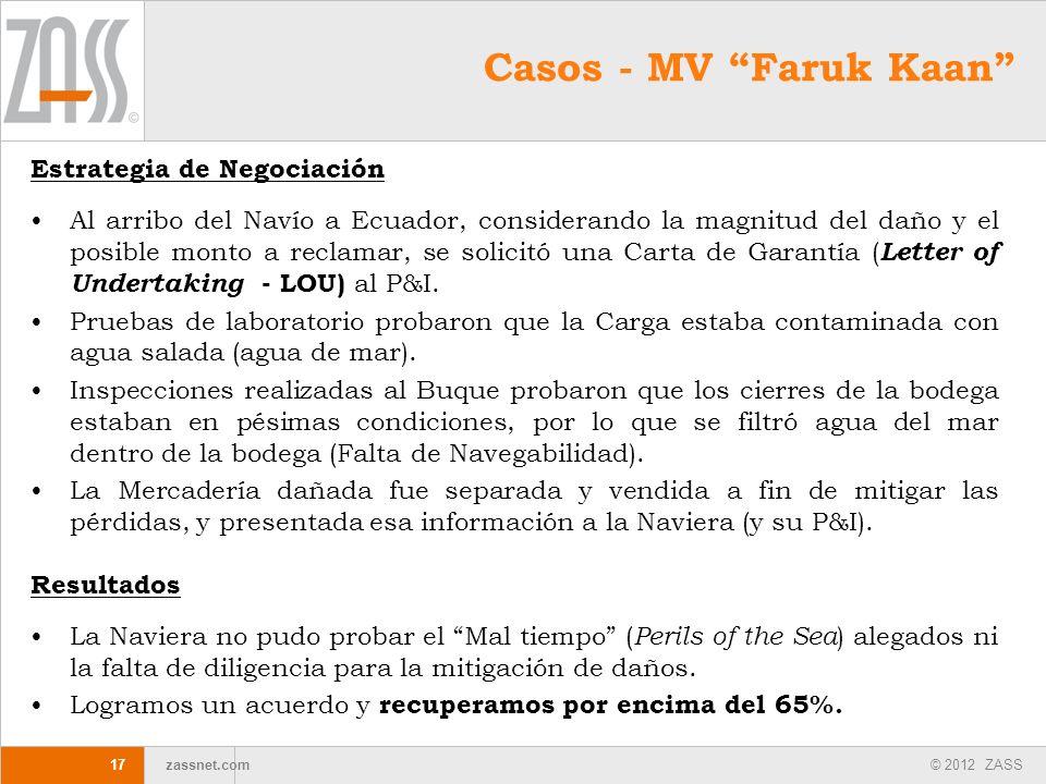 © 2012 ZASS zassnet.com 17 Estrategia de Negociación Al arribo del Navío a Ecuador, considerando la magnitud del daño y el posible monto a reclamar, s