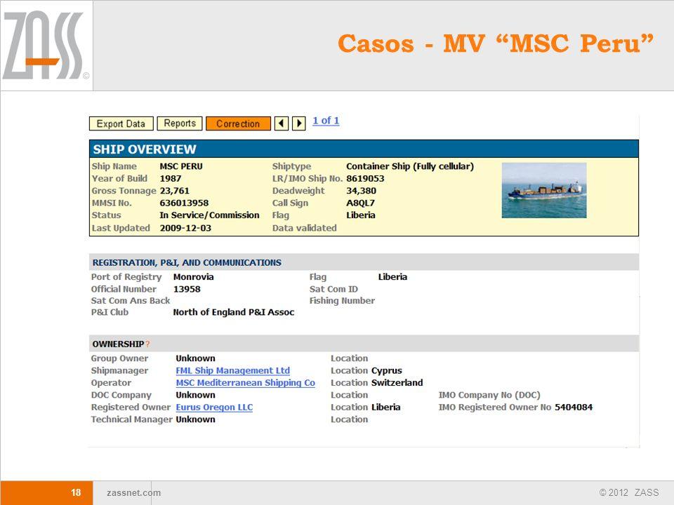 © 2012 ZASS zassnet.com 18 Casos - MV MSC Peru