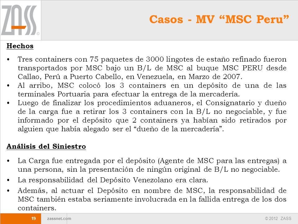 © 2012 ZASS zassnet.com 19 Hechos Tres containers con 75 paquetes de 3000 lingotes de estaño refinado fueron transportados por MSC bajo un B/L de MSC