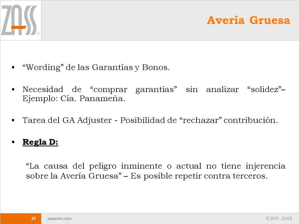 © 2012 ZASS zassnet.com Avería Gruesa Wording de las Garantías y Bonos. Necesidad de comprar garantías sin analizar solidez– Ejemplo: Cía. Panameña. T