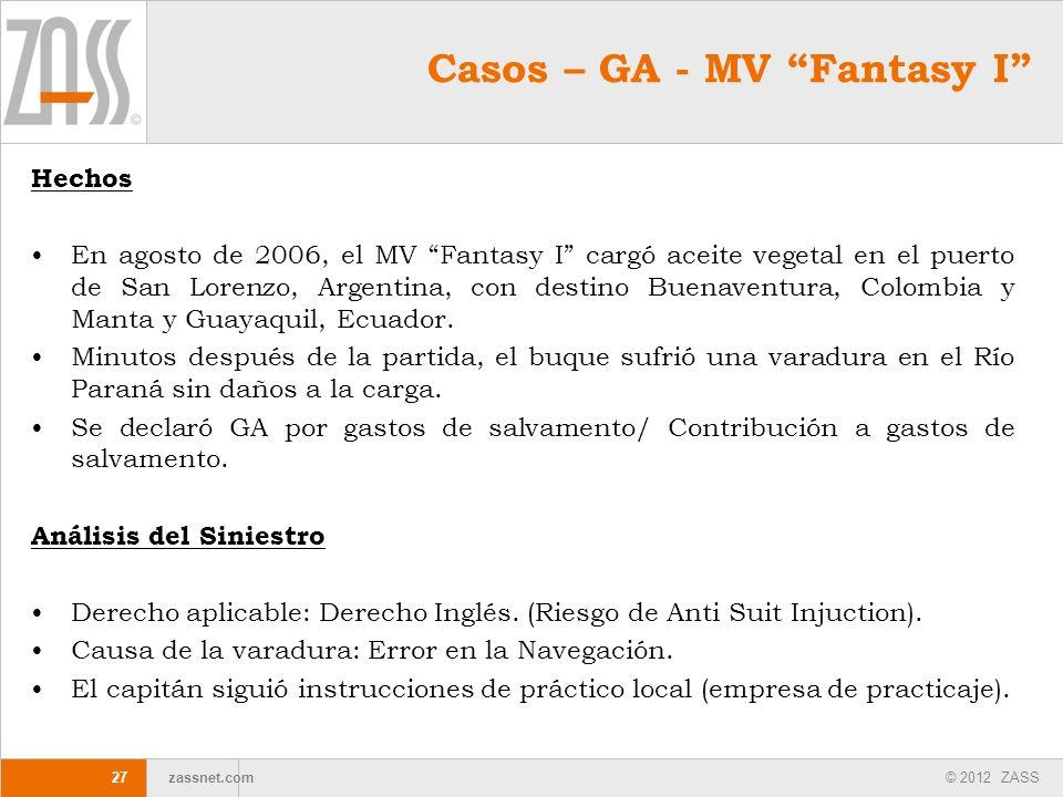 © 2012 ZASS zassnet.com 27 Hechos En agosto de 2006, el MV Fantasy I cargó aceite vegetal en el puerto de San Lorenzo, Argentina, con destino Buenaven