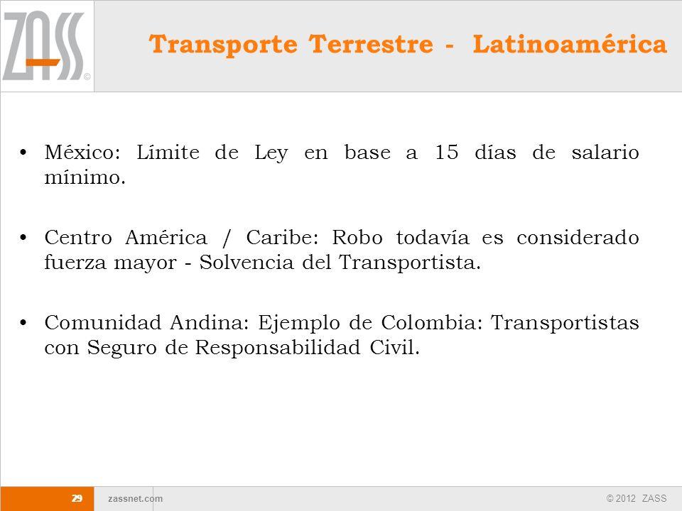 © 2012 ZASS zassnet.com 29 Transporte Terrestre - Latinoamérica México: Límite de Ley en base a 15 días de salario mínimo. Centro América / Caribe: Ro