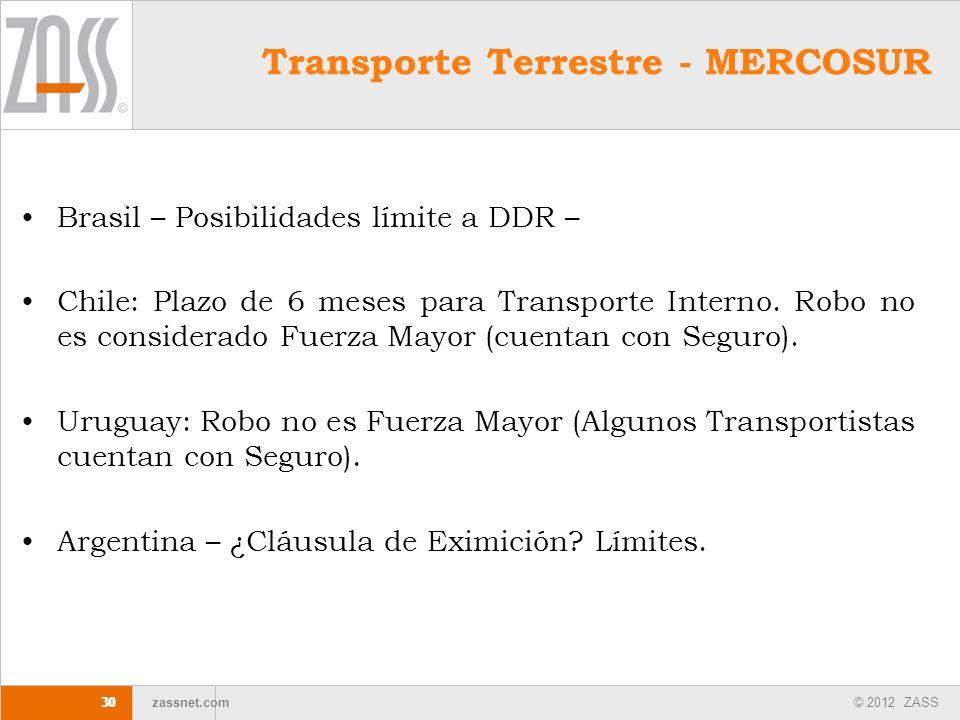 © 2012 ZASS zassnet.com 30 Transporte Terrestre - MERCOSUR Brasil – Posibilidades límite a DDR – Chile: Plazo de 6 meses para Transporte Interno. Robo