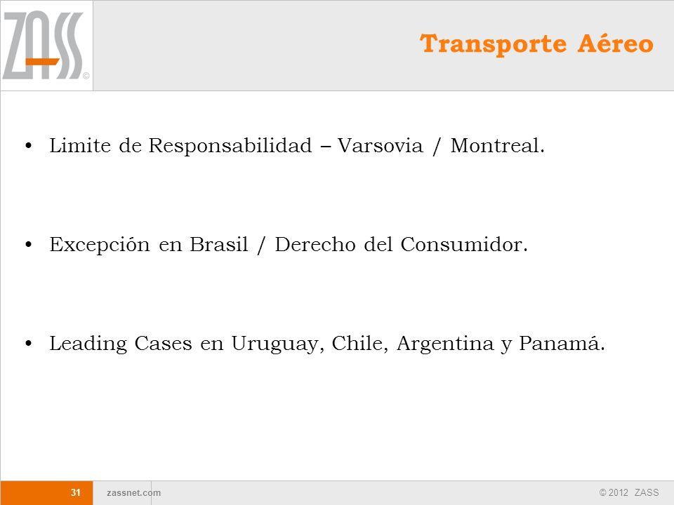 © 2012 ZASS zassnet.com 31 Transporte Aéreo Limite de Responsabilidad – Varsovia / Montreal. Excepción en Brasil / Derecho del Consumidor. Leading Cas