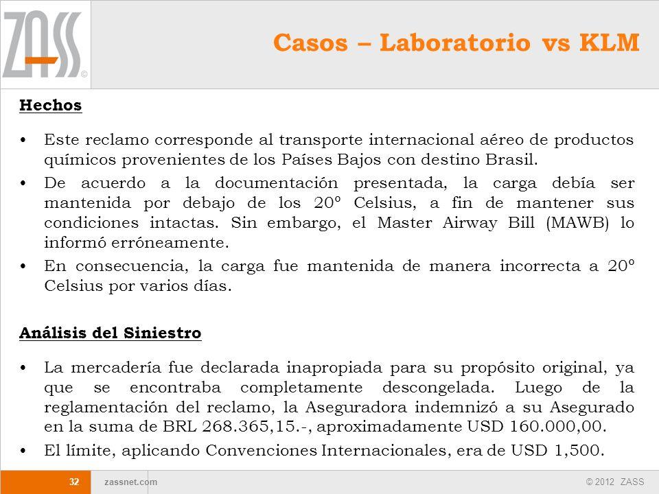 © 2012 ZASS zassnet.com 32 Casos – Laboratorio vs KLM Hechos Este reclamo corresponde al transporte internacional aéreo de productos químicos provenie