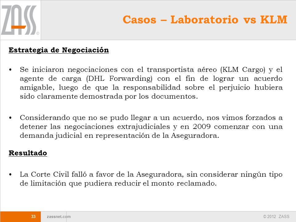© 2012 ZASS zassnet.com 33 Estrategia de Negociación Se iniciaron negociaciones con el transportista aéreo (KLM Cargo) y el agente de carga (DHL Forwa