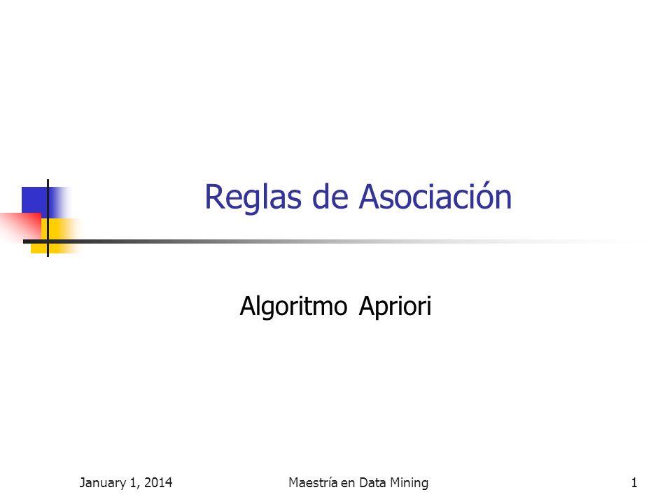 January 1, 2014Maestría en Data Mining1 Reglas de Asociación Algoritmo Apriori