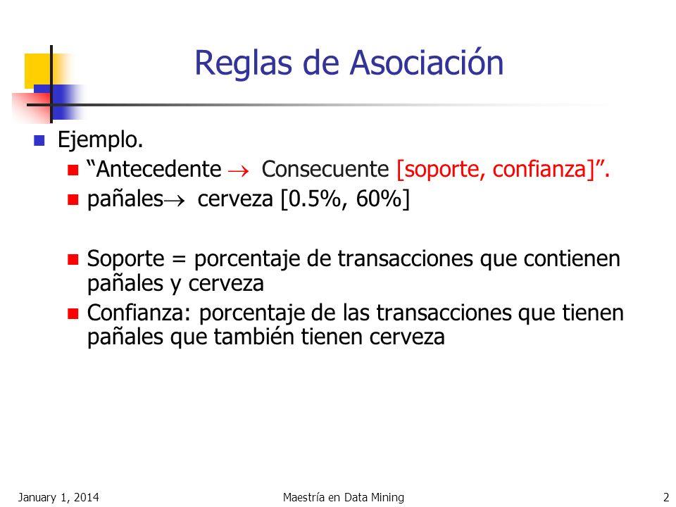 January 1, 2014Maestría en Data Mining 2 Reglas de Asociación Ejemplo. Antecedente Consecuente [soporte, confianza]. pañales cerveza [0.5%, 60%] Sopor