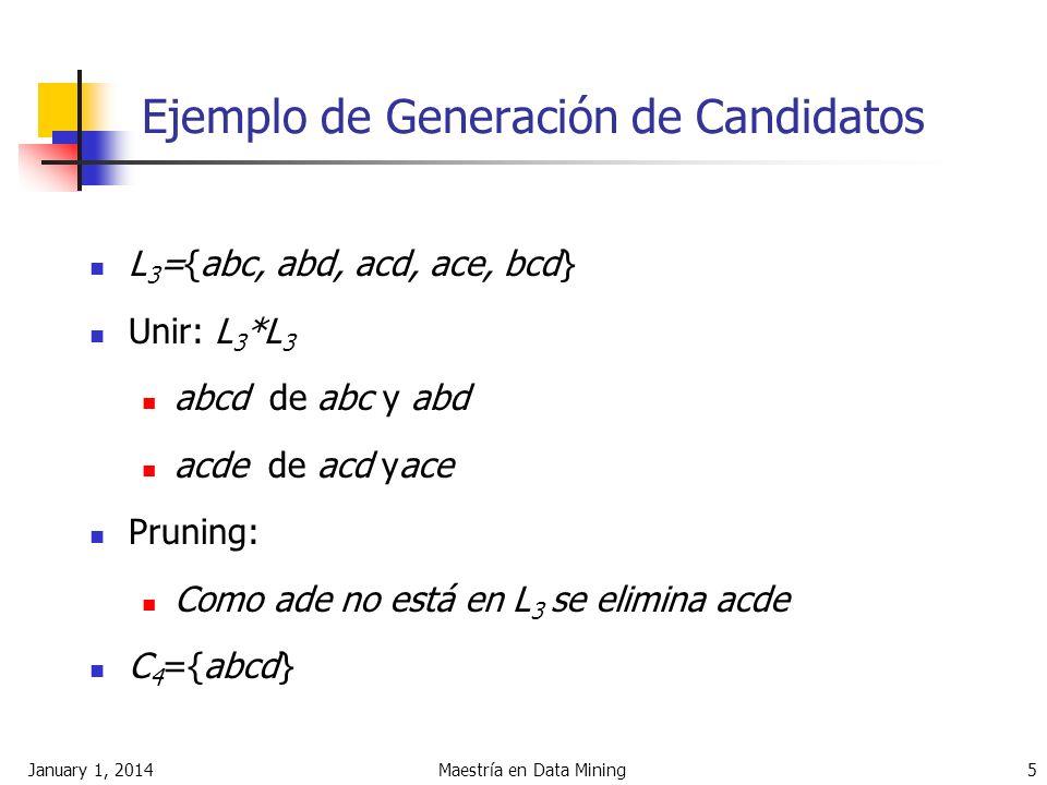 January 1, 2014Maestría en Data Mining 5 Ejemplo de Generación de Candidatos L 3 ={abc, abd, acd, ace, bcd} Unir: L 3 *L 3 abcd de abc y abd acde de a