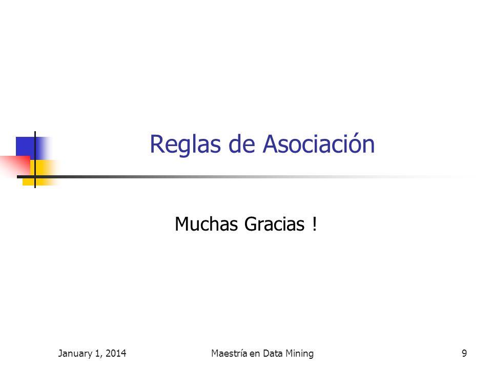January 1, 2014Maestría en Data Mining9 Reglas de Asociación Muchas Gracias !