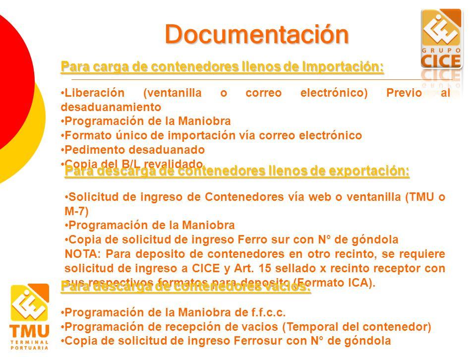 Documentación Para carga de contenedores llenos de Importación: Liberación (ventanilla o correo electrónico) Previo al desaduanamiento Programación de