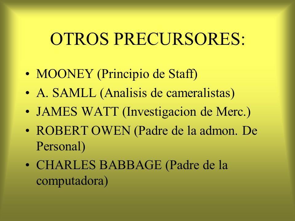 OTROS PRECURSORES: MOONEY (Principio de Staff) A. SAMLL (Analisis de cameralistas) JAMES WATT (Investigacion de Merc.) ROBERT OWEN (Padre de la admon.