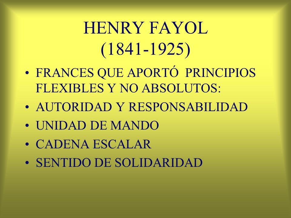 HENRY FAYOL (1841-1925) FRANCES QUE APORTÓ PRINCIPIOS FLEXIBLES Y NO ABSOLUTOS: AUTORIDAD Y RESPONSABILIDAD UNIDAD DE MANDO CADENA ESCALAR SENTIDO DE
