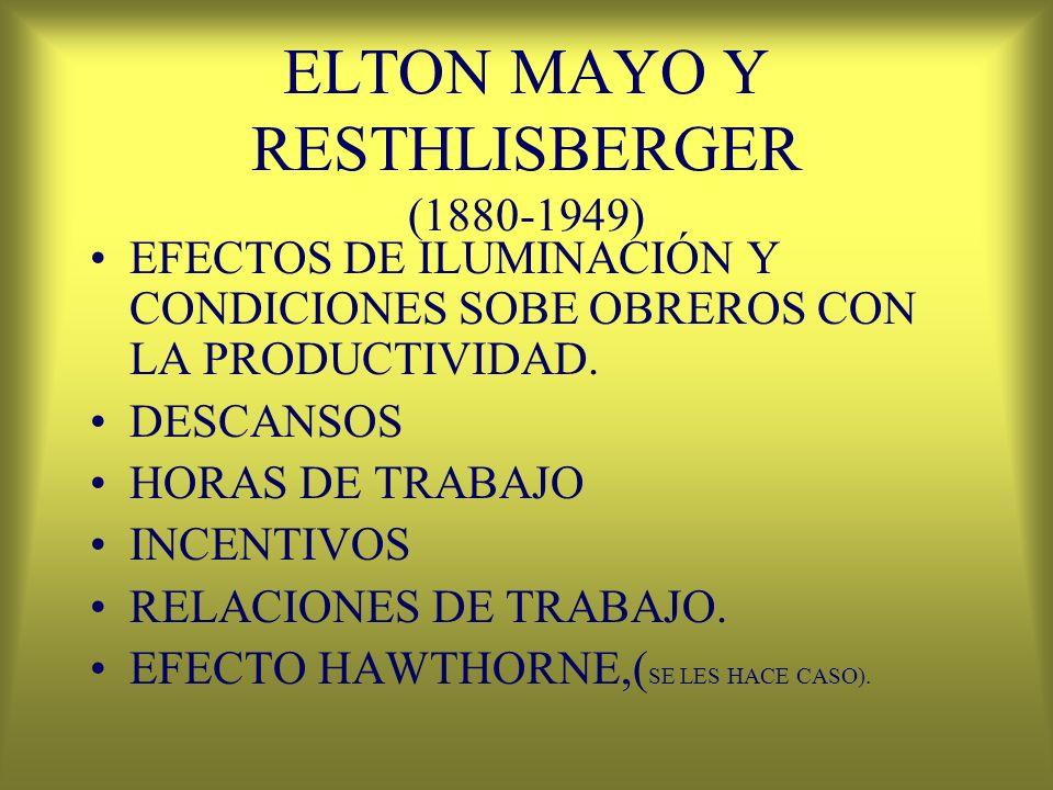 ELTON MAYO Y RESTHLISBERGER (1880-1949) EFECTOS DE ILUMINACIÓN Y CONDICIONES SOBE OBREROS CON LA PRODUCTIVIDAD. DESCANSOS HORAS DE TRABAJO INCENTIVOS