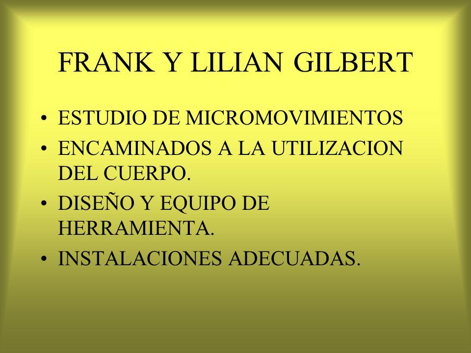 FRANK Y LILIAN GILBERT ESTUDIO DE MICROMOVIMIENTOS ENCAMINADOS A LA UTILIZACION DEL CUERPO. DISEÑO Y EQUIPO DE HERRAMIENTA. INSTALACIONES ADECUADAS.