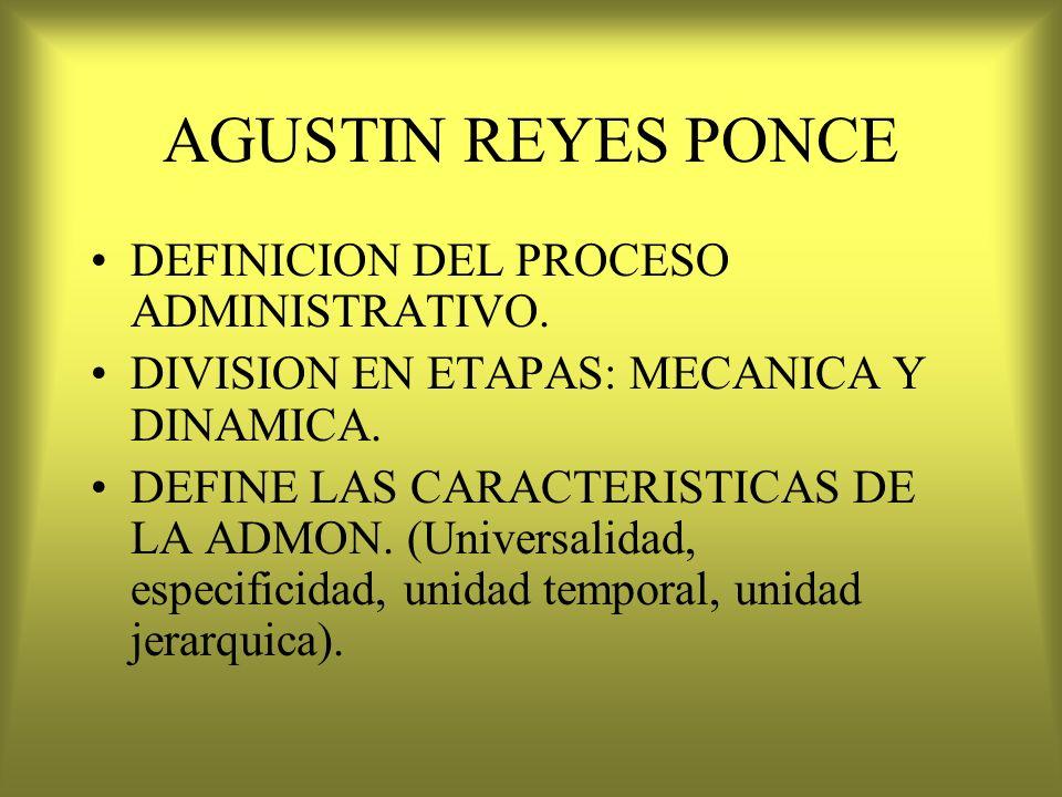 AGUSTIN REYES PONCE DEFINICION DEL PROCESO ADMINISTRATIVO. DIVISION EN ETAPAS: MECANICA Y DINAMICA. DEFINE LAS CARACTERISTICAS DE LA ADMON. (Universal