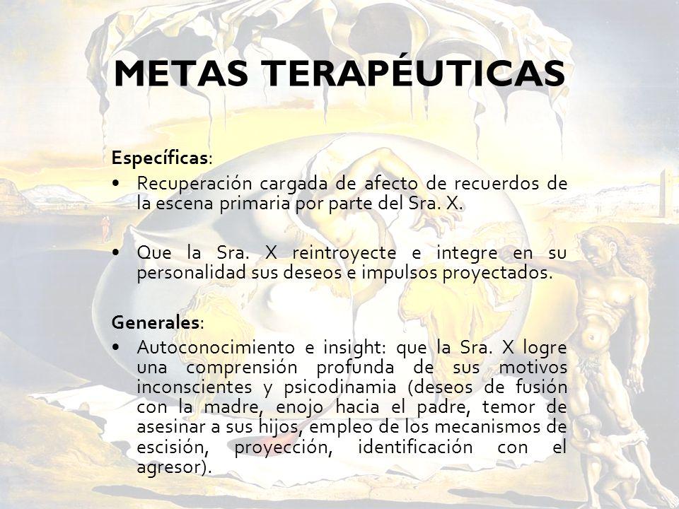 METAS TERAPÉUTICAS Específicas: Recuperación cargada de afecto de recuerdos de la escena primaria por parte del Sra. X. Que la Sra. X reintroyecte e i