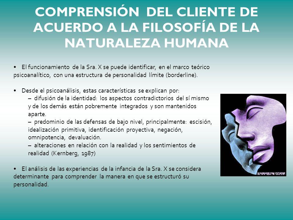COMPRENSIÓN DEL CLIENTE DE ACUERDO A LA FILOSOFÍA DE LA NATURALEZA HUMANA El funcionamiento de la Sra. X se puede identificar, en el marco teórico psi
