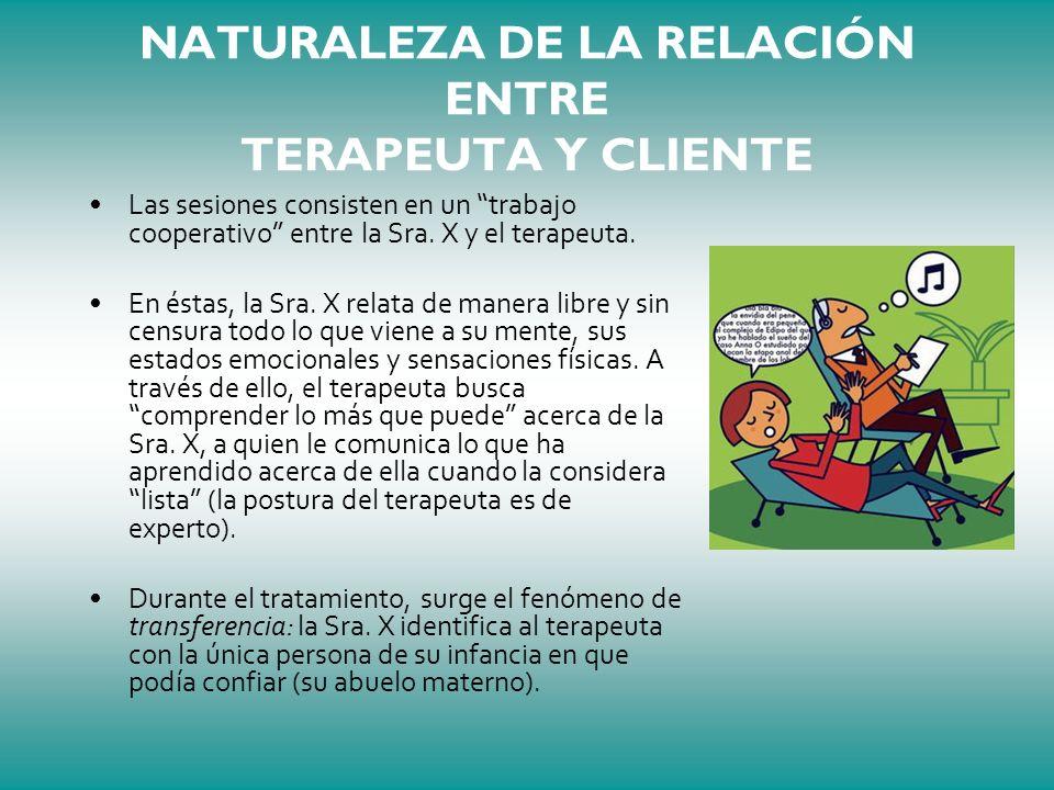 NATURALEZA DE LA RELACIÓN ENTRE TERAPEUTA Y CLIENTE Las sesiones consisten en un trabajo cooperativo entre la Sra. X y el terapeuta. En éstas, la Sra.