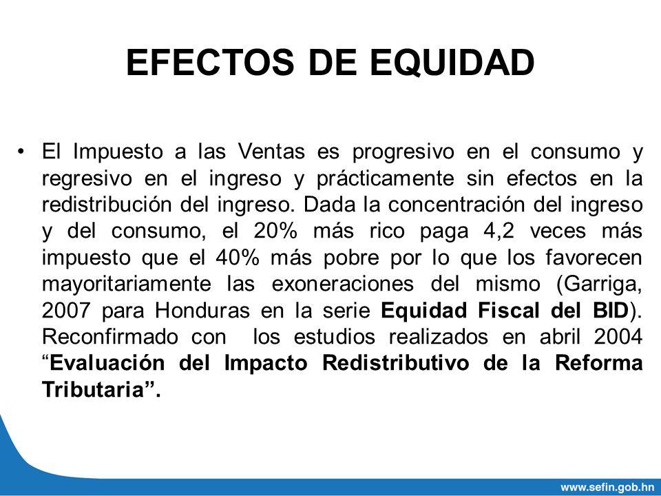 EFECTOS DE EQUIDAD El Impuesto a las Ventas es progresivo en el consumo y regresivo en el ingreso y prácticamente sin efectos en la redistribución del