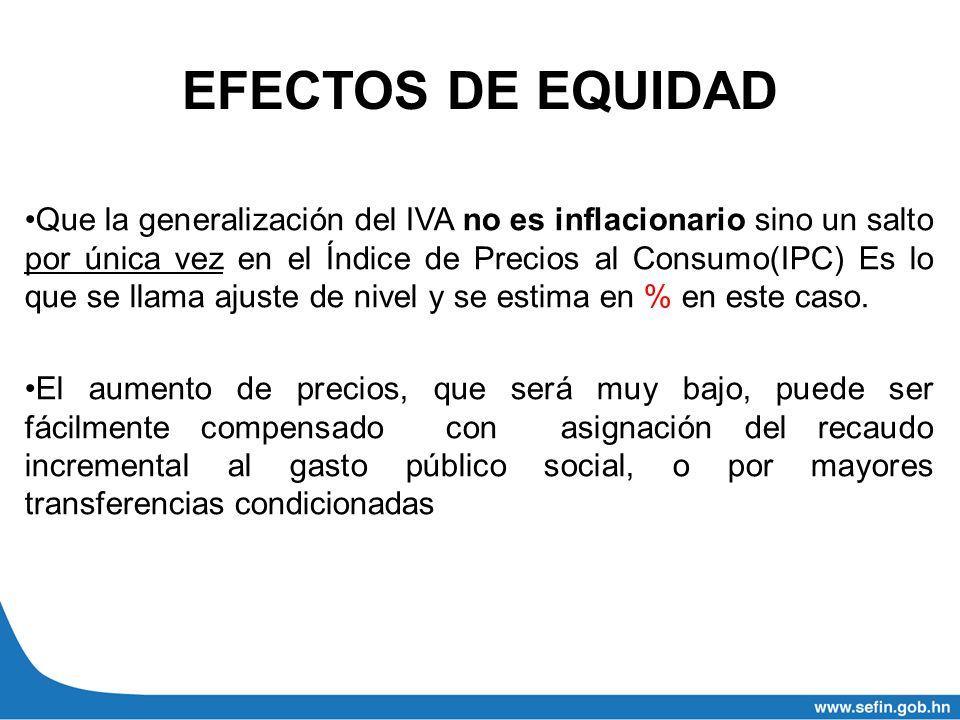 EFECTOS DE EQUIDAD Que la generalización del IVA no es inflacionario sino un salto por única vez en el Índice de Precios al Consumo(IPC) Es lo que se