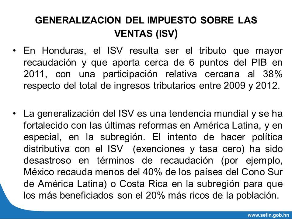 GENERALIZACION DEL IMPUESTO SOBRE LAS VENTAS (ISV ) En Honduras, el ISV resulta ser el tributo que mayor recaudación y que aporta cerca de 6 puntos de