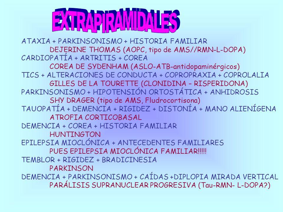 ATAXIA + PARKINSONISMO + HISTORIA FAMILIAR DEJERINE THOMAS (AOPC, tipo de AMS//RMN-L-DOPA) CARDIOPATÍA + ARTRITIS + COREA COREA DE SYDENHAM (ASLO-ATB-
