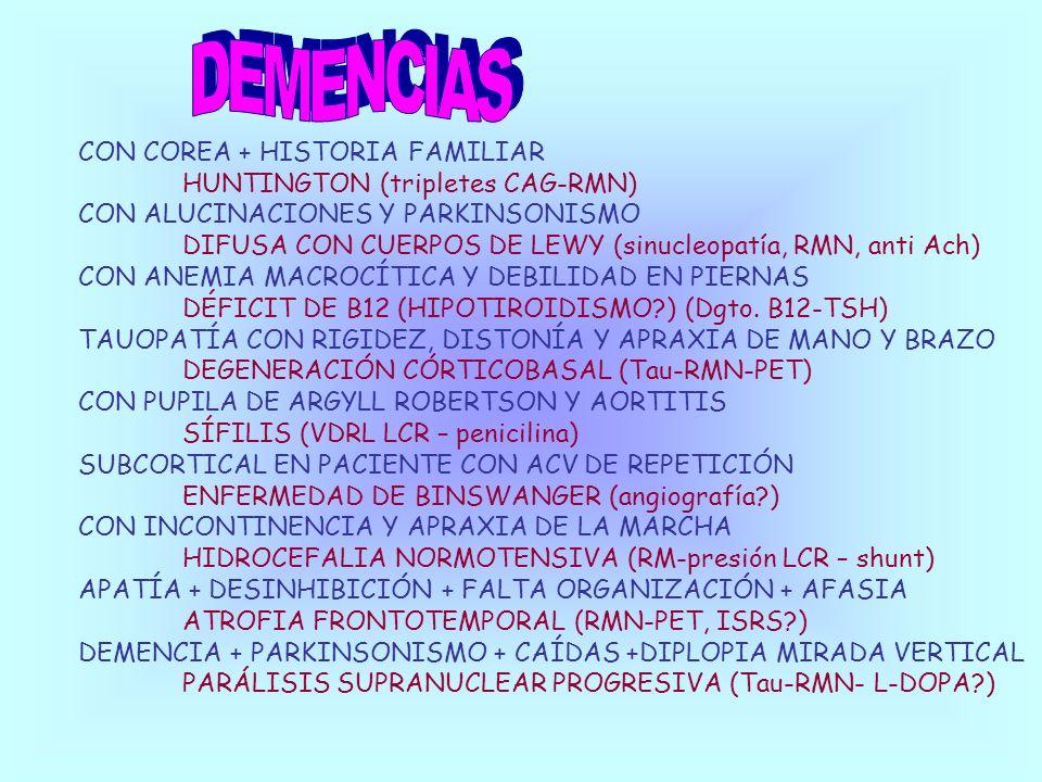 CON COREA + HISTORIA FAMILIAR HUNTINGTON (tripletes CAG-RMN) CON ALUCINACIONES Y PARKINSONISMO DIFUSA CON CUERPOS DE LEWY (sinucleopatía, RMN, anti Ac