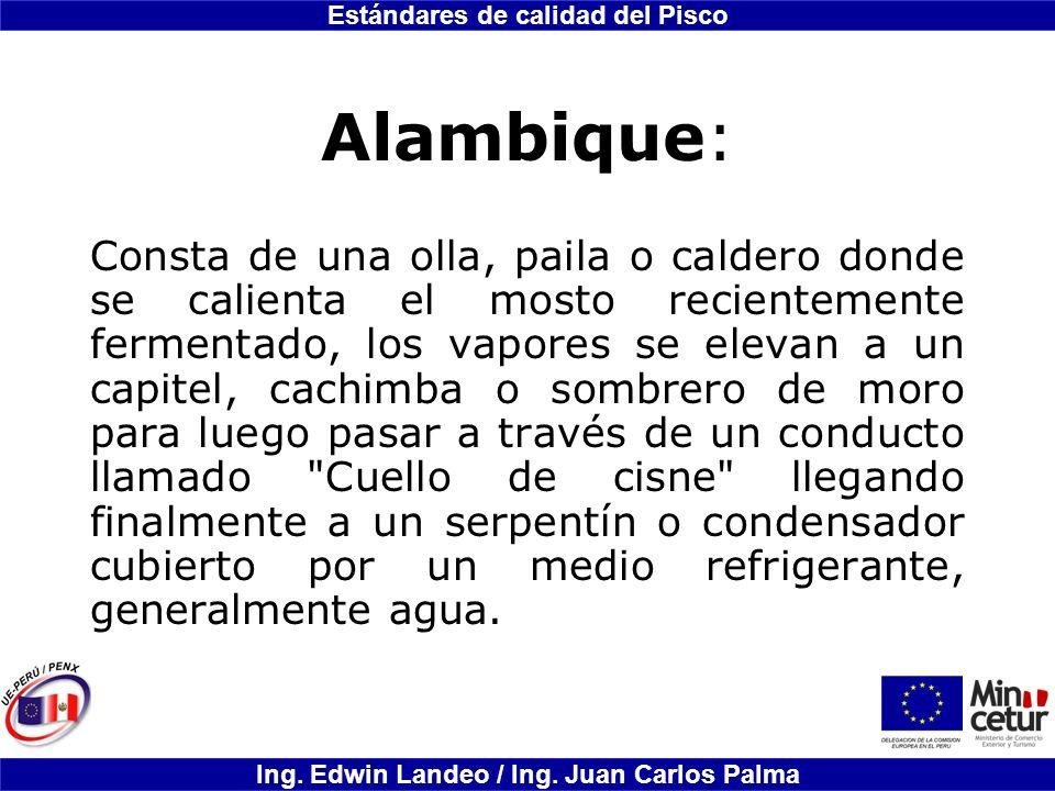 Estándares de calidad del Pisco Ing. Edwin Landeo / Ing. Juan Carlos Palma Alambique: Consta de una olla, paila o caldero donde se calienta el mosto r