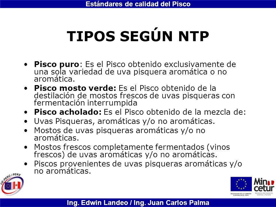Estándares de calidad del Pisco Ing. Edwin Landeo / Ing. Juan Carlos Palma TIPOS SEGÚN NTP Pisco puro: Es el Pisco obtenido exclusivamente de una sola