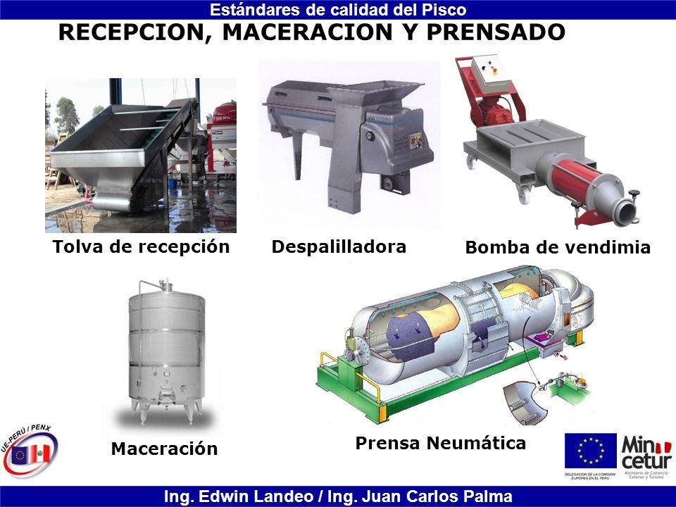 Estándares de calidad del Pisco Ing. Edwin Landeo / Ing. Juan Carlos Palma Tolva de recepciónDespalilladora Prensa Neumática Maceración Bomba de vendi