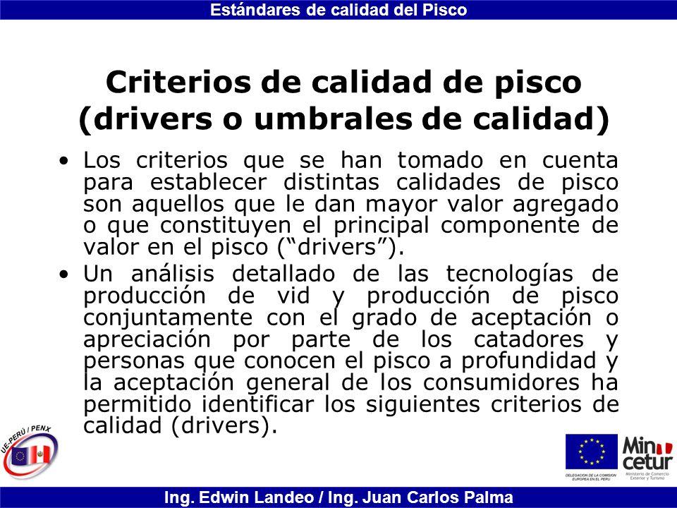 Estándares de calidad del Pisco Ing. Edwin Landeo / Ing. Juan Carlos Palma Criterios de calidad de pisco (drivers o umbrales de calidad) Los criterios