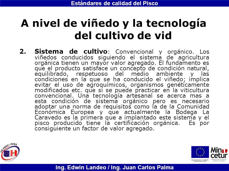 Estándares de calidad del Pisco Ing. Edwin Landeo / Ing. Juan Carlos Palma A nivel de viñedo y la tecnología del cultivo de vid 2.Sistema de cultivo :