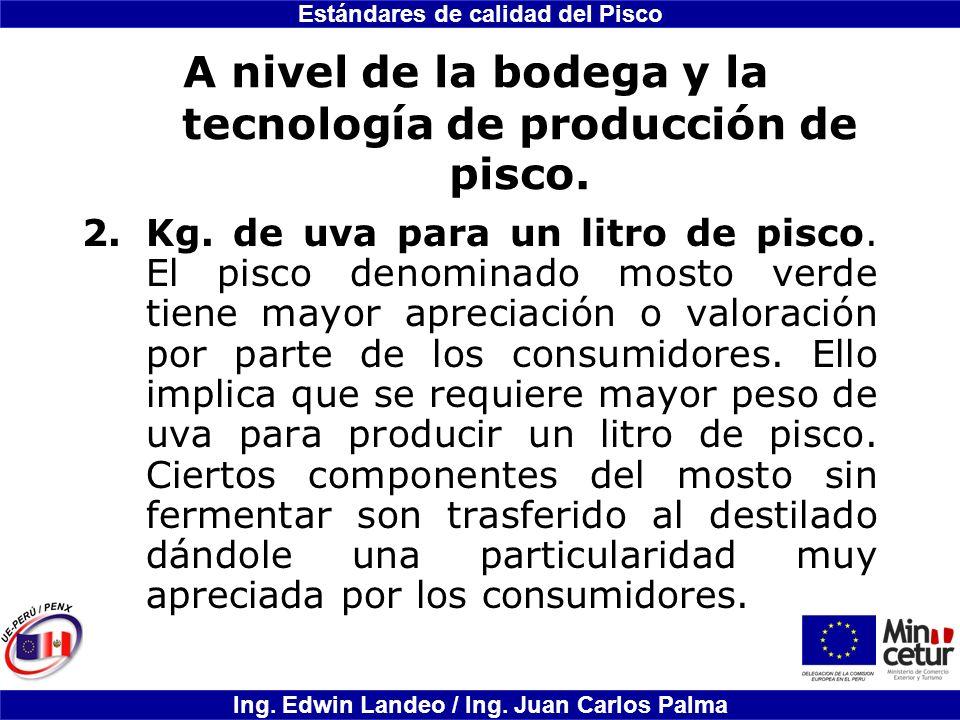 Estándares de calidad del Pisco Ing. Edwin Landeo / Ing. Juan Carlos Palma A nivel de la bodega y la tecnología de producción de pisco. 2.Kg. de uva p