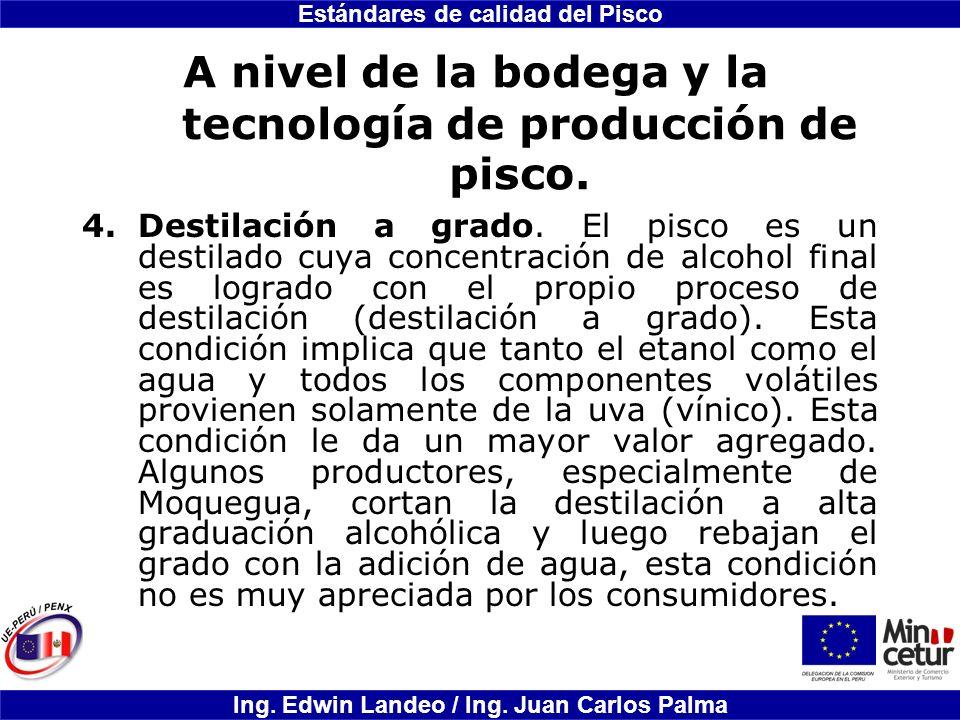 Estándares de calidad del Pisco Ing. Edwin Landeo / Ing. Juan Carlos Palma A nivel de la bodega y la tecnología de producción de pisco. 4.Destilación