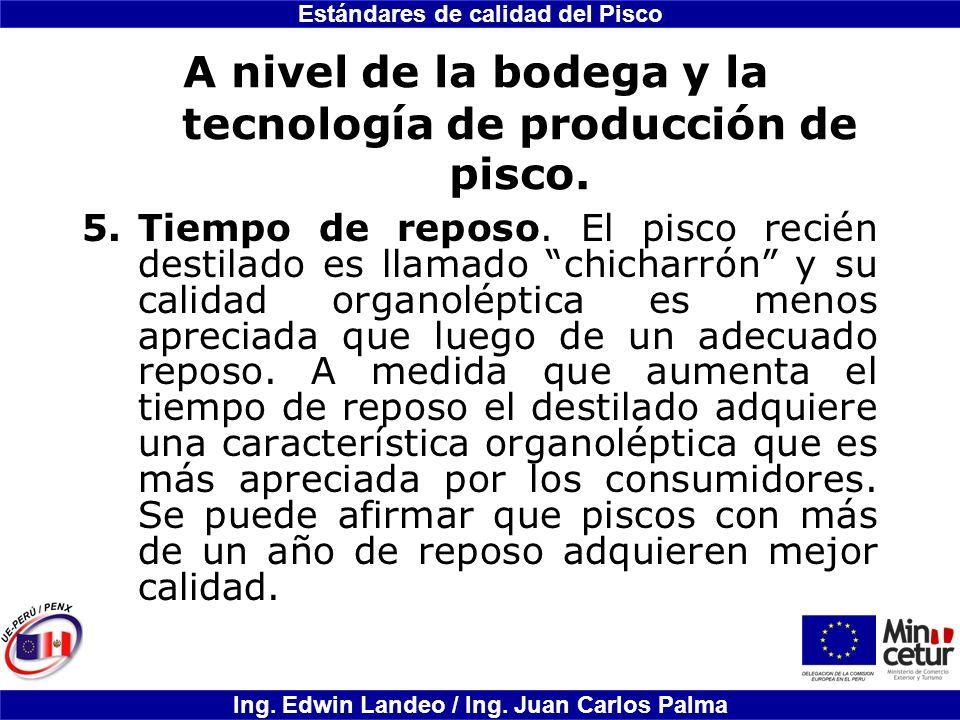 Estándares de calidad del Pisco Ing. Edwin Landeo / Ing. Juan Carlos Palma A nivel de la bodega y la tecnología de producción de pisco. 5.Tiempo de re