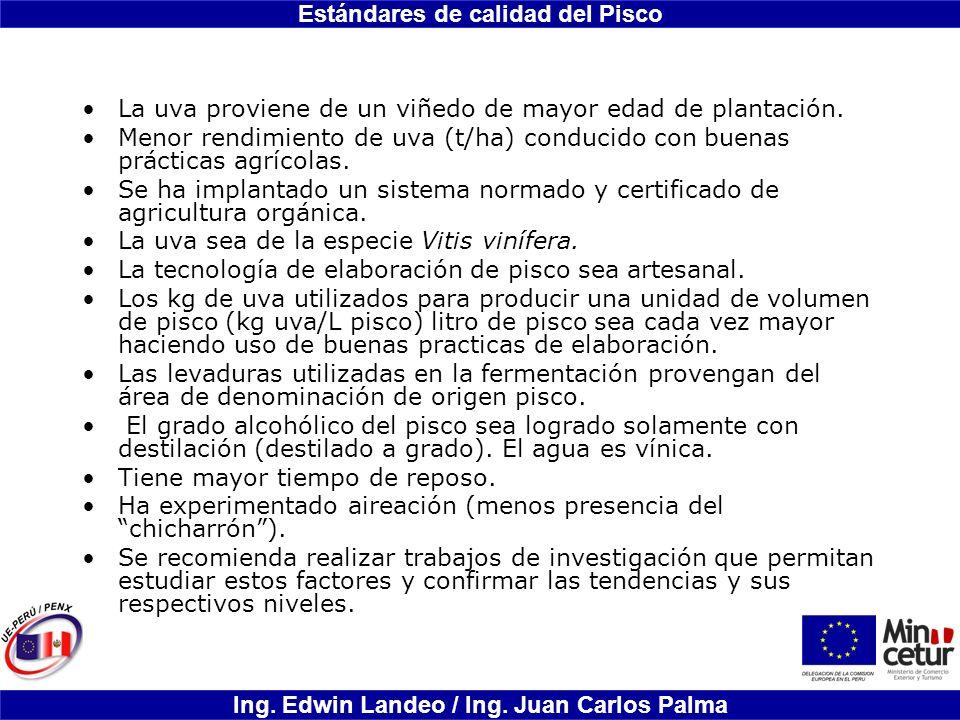 Estándares de calidad del Pisco Ing. Edwin Landeo / Ing. Juan Carlos Palma La uva proviene de un viñedo de mayor edad de plantación. Menor rendimiento