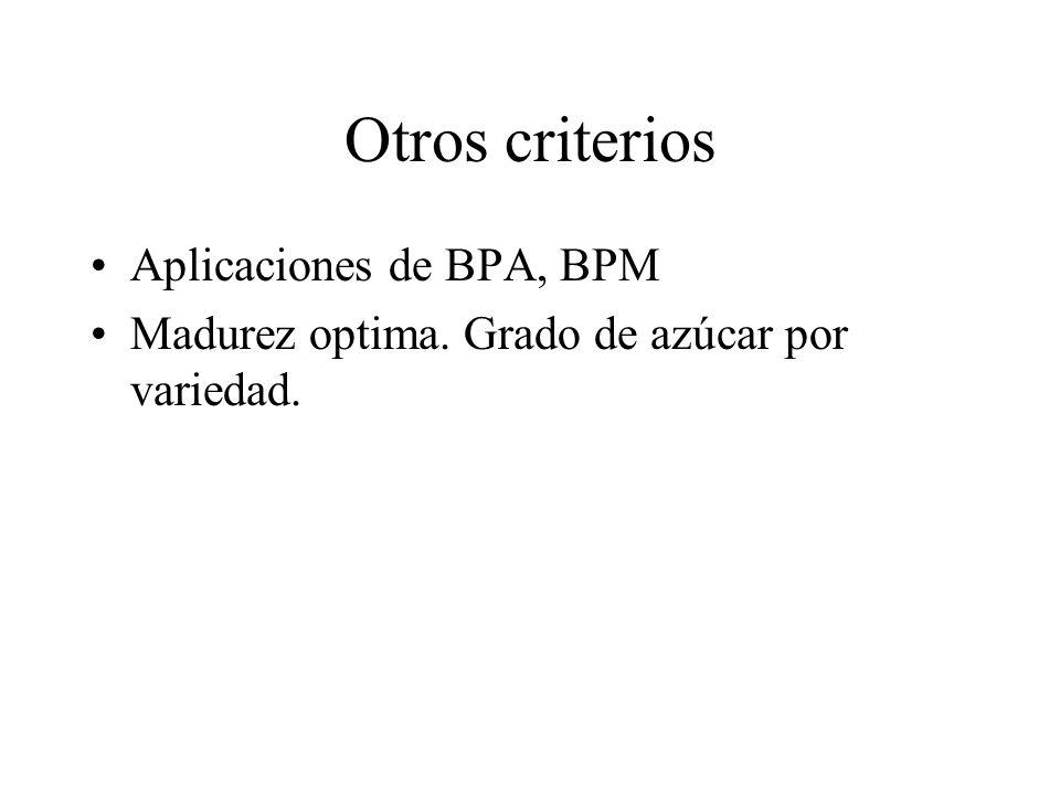 Otros criterios Aplicaciones de BPA, BPM Madurez optima. Grado de azúcar por variedad.