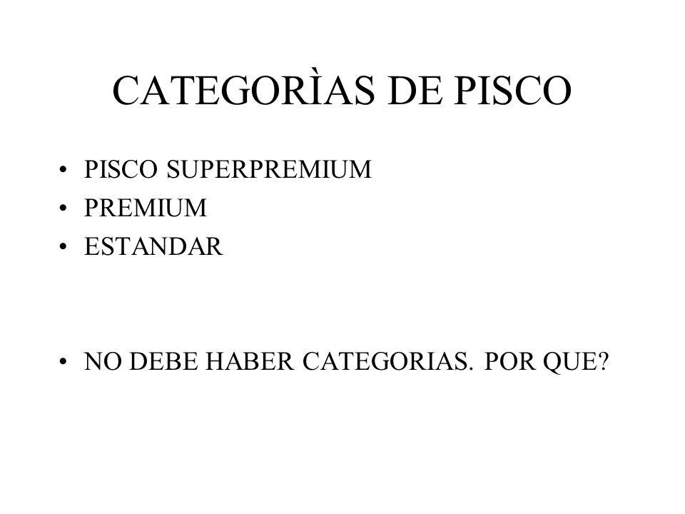 CATEGORÌAS DE PISCO PISCO SUPERPREMIUM PREMIUM ESTANDAR NO DEBE HABER CATEGORIAS. POR QUE?